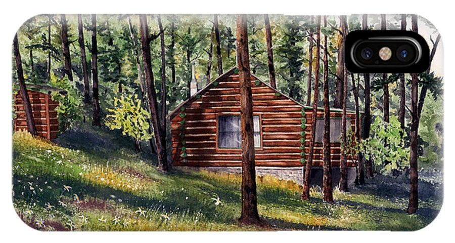Nature IPhone X Case featuring the painting The Log Cabin by Mary Tuomi