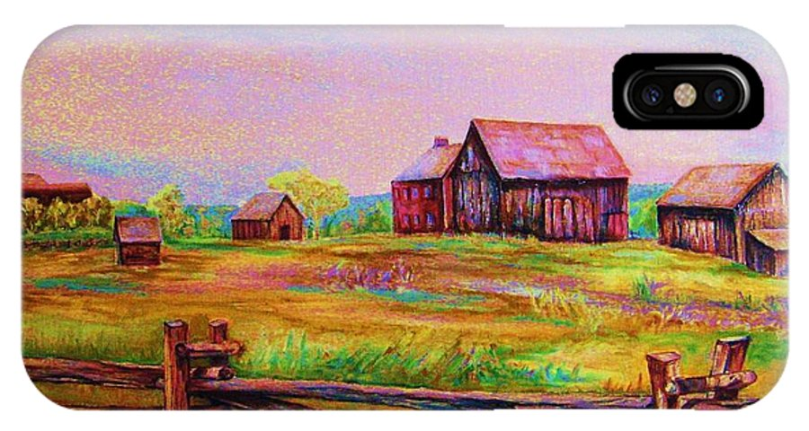 Ranches IPhone Case featuring the painting The Log Fence by Carole Spandau