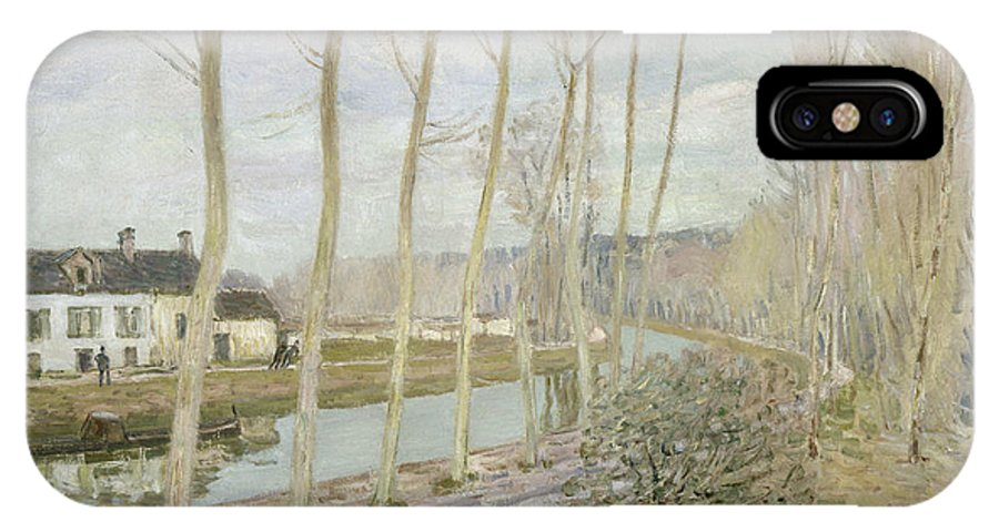 Alfred Sisley IPhone X Case featuring the painting The Loing's Canal by Alfred Sisley