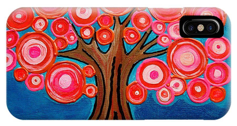 Tree Colorful Bright Funky Playful Pink Orange Abstract IPhone X Case featuring the painting The Lollipop Tree by Pamela Cisneros