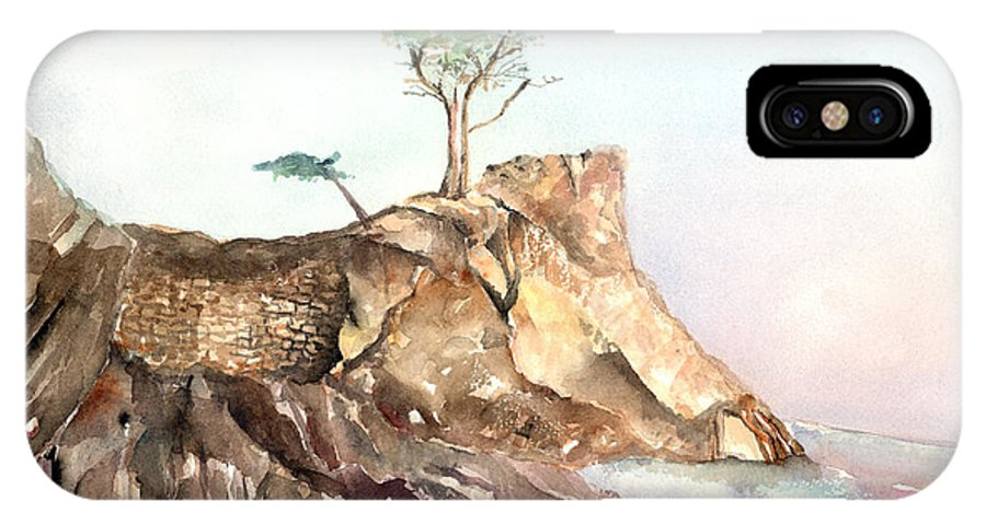 Tree IPhone Case featuring the painting The Lone Cypress-monterey Ca by Arline Wagner