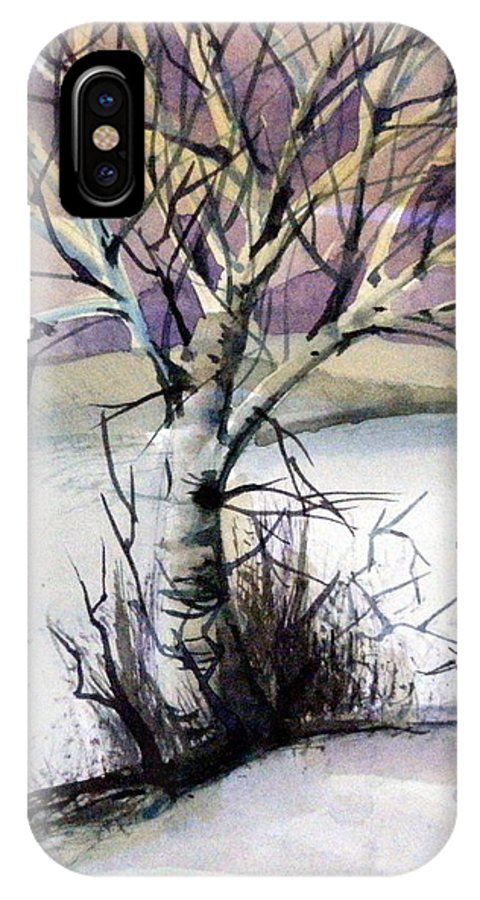 Birch IPhone X Case featuring the painting The Lone Tree by Mindy Newman