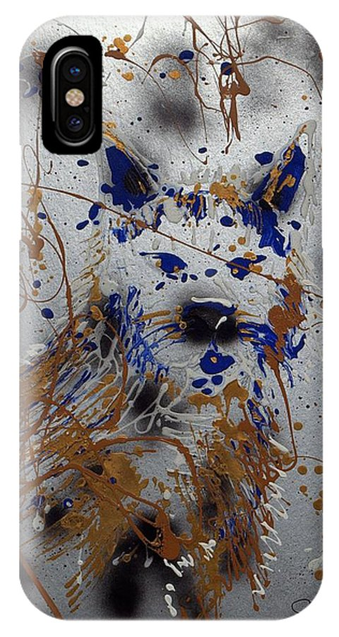 Impressionist Painting IPhone X Case featuring the mixed media The Lone Wolf Canis Lupus by J R Seymour