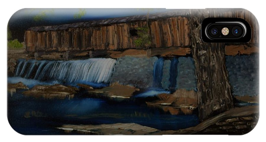 Covered Bridge IPhone X Case featuring the painting The Long Bridge by Mike Parsons
