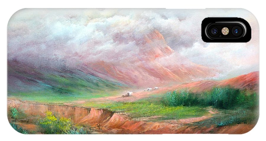 Covered Wagon IPhone X Case featuring the painting The Long Trail by Sally Seago