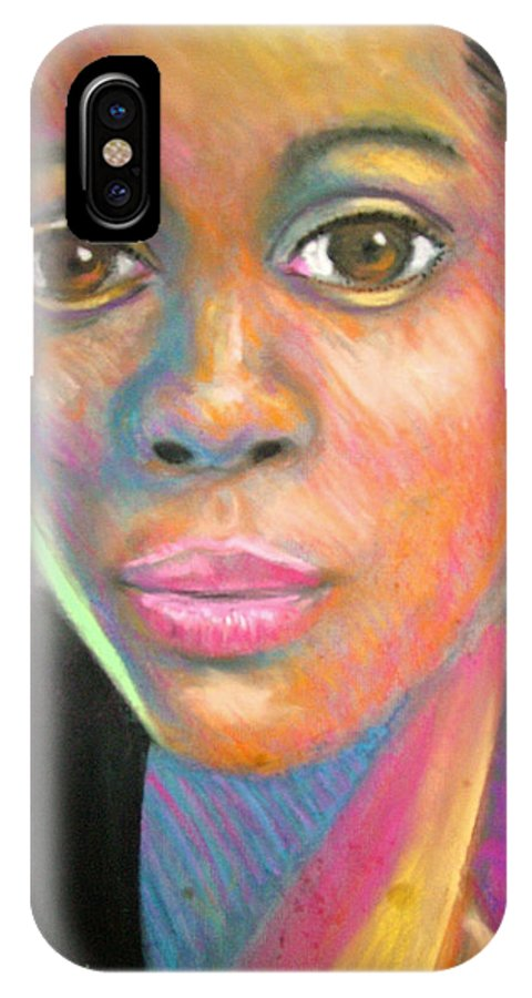 Portrait IPhone X Case featuring the drawing The Look by Jan Gilmore