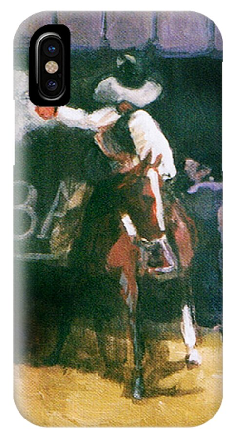Cowboys IPhone X Case featuring the painting The Lord Helps Them...A Study by Seth Weaver