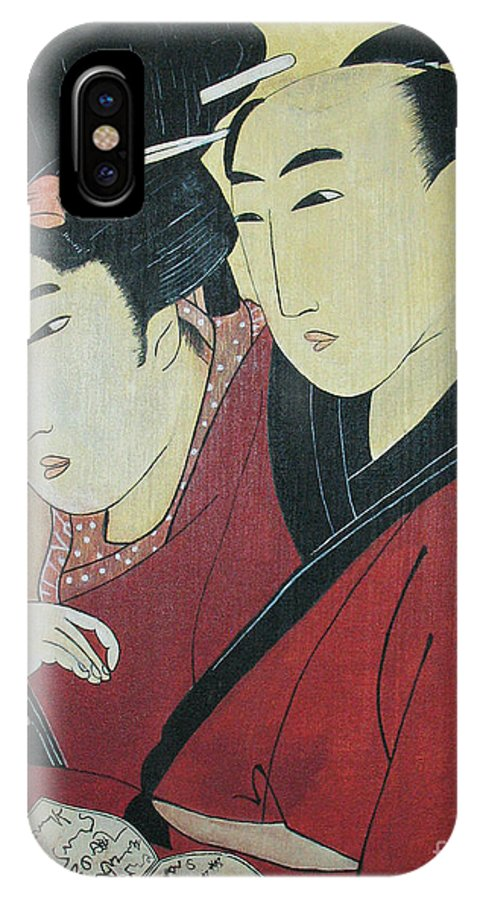The Lovers Ohan And Chomon IPhone X Case featuring the painting The Lovers Ohan And Chomon by Carrie Jackson