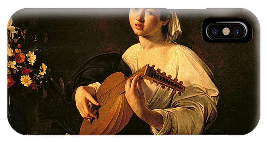 The Lute Player IPhone X Case featuring the painting The Lute Player by Michelangelo Merisi da Caravaggio