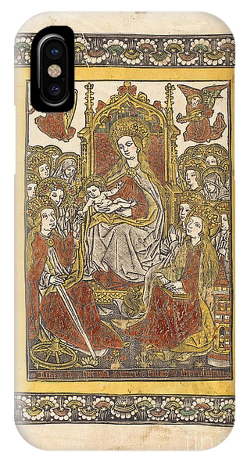 IPhone X Case featuring the drawing The Madonna Enthroned With Eighteen Holy Women by German 15th Century Or Master With The Mountain-like Clouds