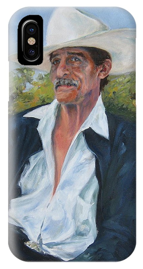 Portrait IPhone X Case featuring the painting The Man From The Valley by Connie Schaertl
