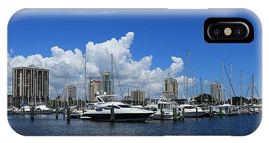Boats IPhone X / XS Case featuring the photograph The Marina by Debbie Olavarria