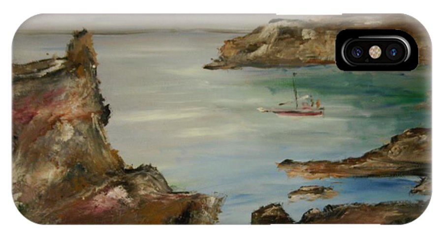 Seascape IPhone X Case featuring the painting The Mediteranean Coastline by Edward Wolverton