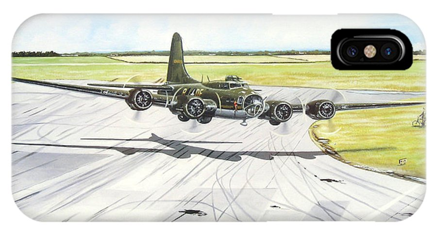 Military IPhone X Case featuring the painting The Memphis Belle by Marc Stewart