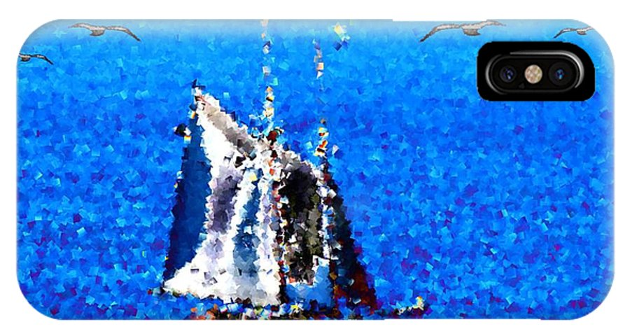 Sail IPhone X Case featuring the digital art The Messengers by Tim Allen