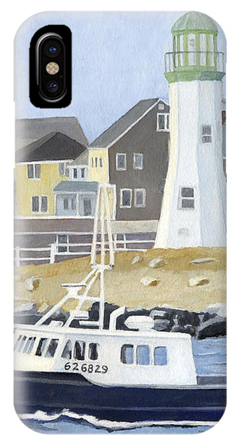 Fishingboat IPhone X Case featuring the painting The Michael Brandon by Dominic White
