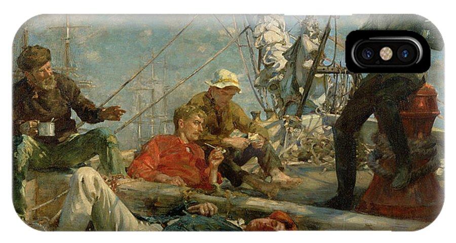 Marine; Ship; Resting; Break; Lying Down; Dozing; Talking; Conversation; Pipe; Mug; Mast; Deck; Marine; Old Salt; Newlyn School IPhone X / XS Case featuring the painting The Midday Rest Sailors Yarning by Henry Scott Tuke