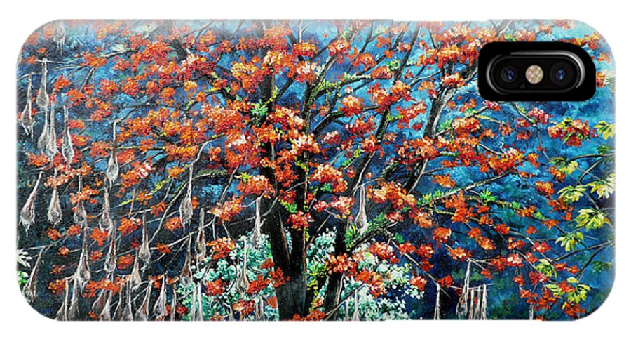 Tree Painting Mountain Painting Floral Painting Caribbean Painting Original Painting Of Immortelle Tree Painting  With Nesting Corn Oropendula Birds Painting In Northern Mountains Of Trinidad And Tobago Painting IPhone X / XS Case featuring the painting The Mighty Immortelle by Karin Dawn Kelshall- Best