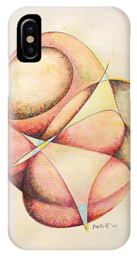 Abstract IPhone X Case featuring the painting The Millenium Stone by Dave Martsolf