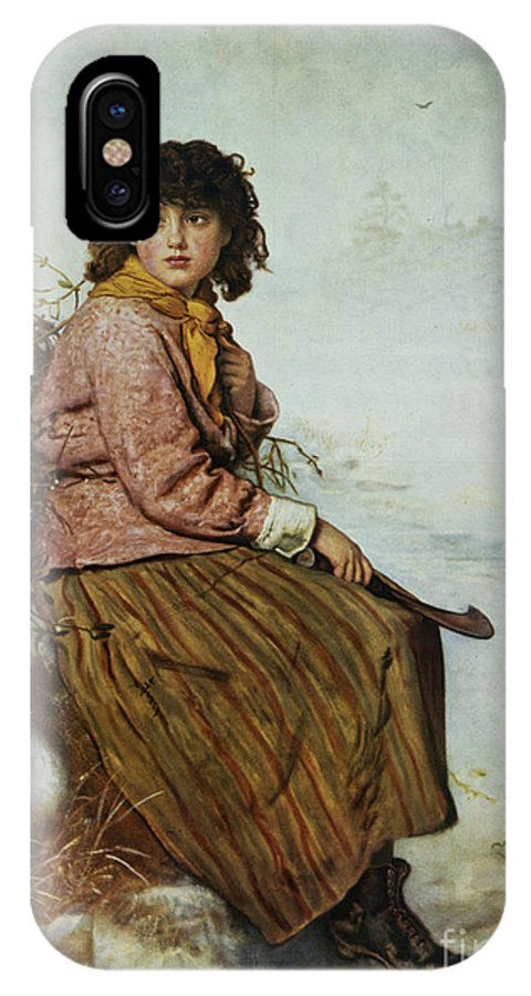 The IPhone X Case featuring the painting The Mistletoe Gatherer by Sir John Everett Millais
