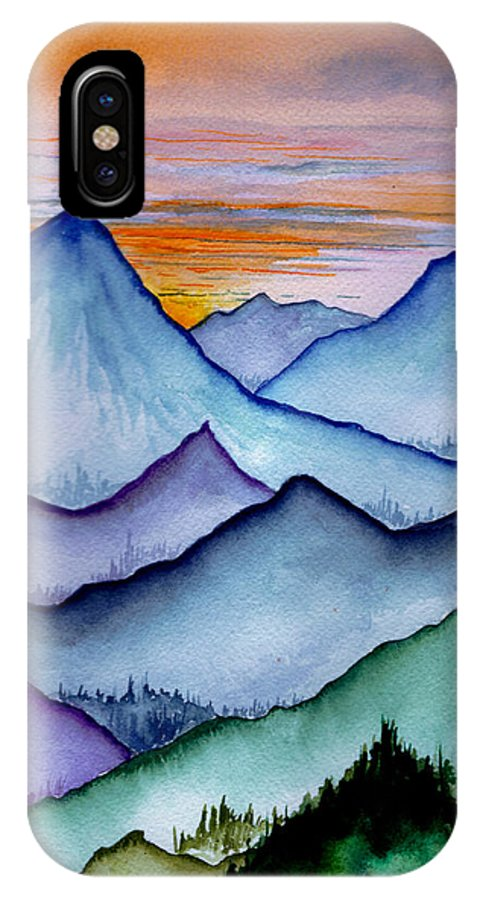 Landscape IPhone X Case featuring the painting The Misty Mountains by Brenda Owen