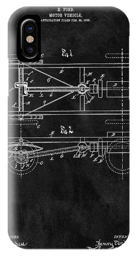Ford Model T Patent IPhone X Case featuring the drawing The Model T Patent by Dan Sproul