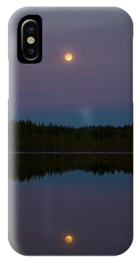 Lehtokukka IPhone X Case featuring the photograph The Moon Over Kirkas-soljanen 3 by Jouko Lehto