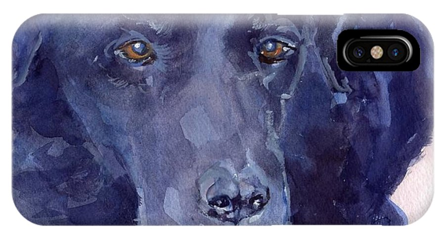 Black Lab IPhone X Case featuring the painting The Muse by Sheila Wedegis