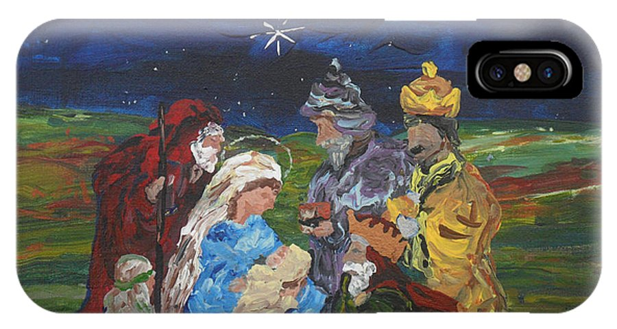 Nativity IPhone X Case featuring the painting The Nativity by Reina Resto