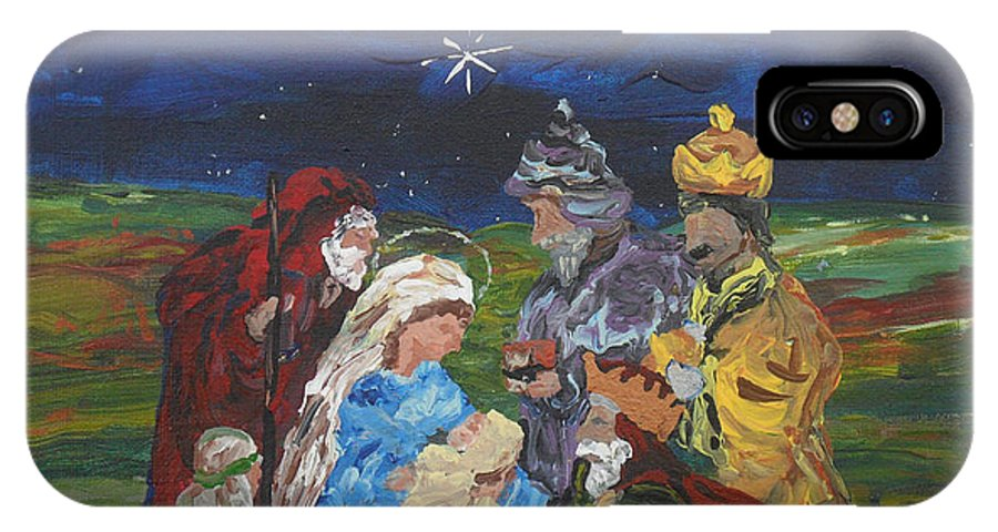 Nativity Scene IPhone X Case featuring the painting The Nativity by Reina Resto