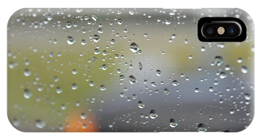 Rain IPhone X Case featuring the photograph The Natural Lens That Is A Raindrop by Laura Martin