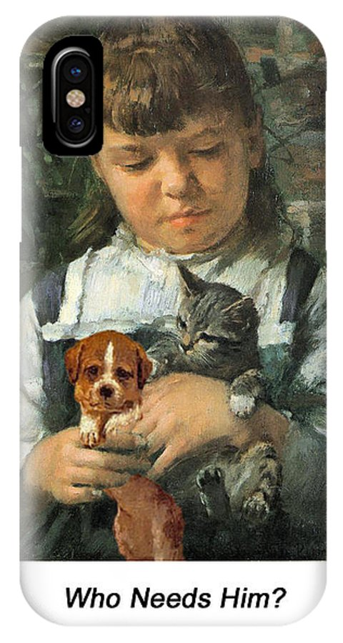 Altered Art IPhone X Case featuring the digital art The New Pet by John Saunders
