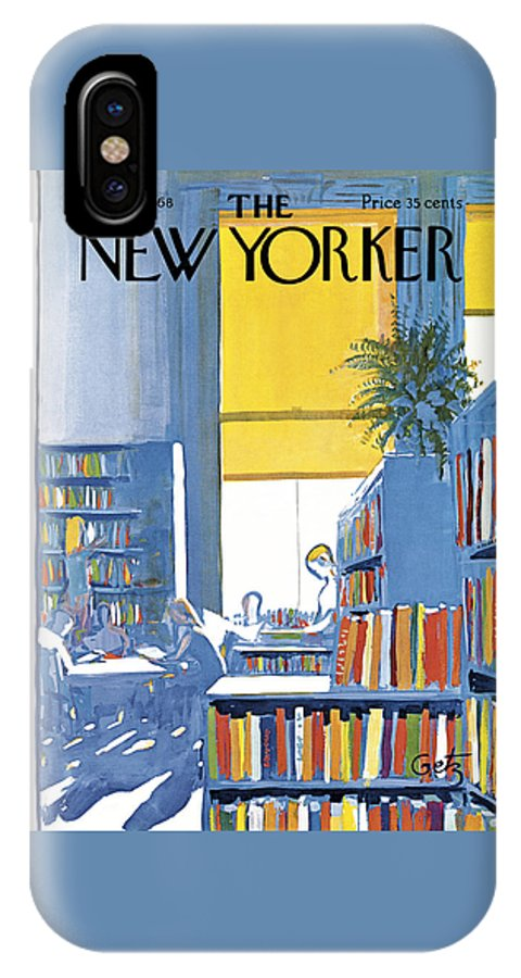 Books IPhone X Case featuring the painting New Yorker June 29th 1968 by Arthur Getz