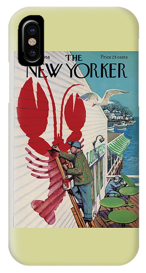 Food IPhone X Case featuring the photograph The New Yorker Cover - March 22, 1958 by Arthur Getz