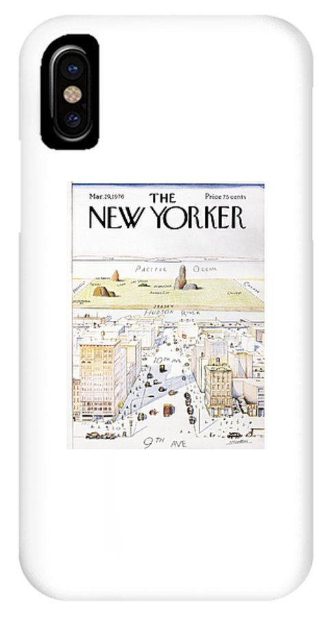 Saul IPhone X Case featuring the painting View From 9th Avenue by Saul Steinberg