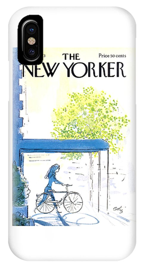 Bicycle IPhone X Case featuring the painting The New Yorker Cover - May 26th, 1973 by Arthur Getz