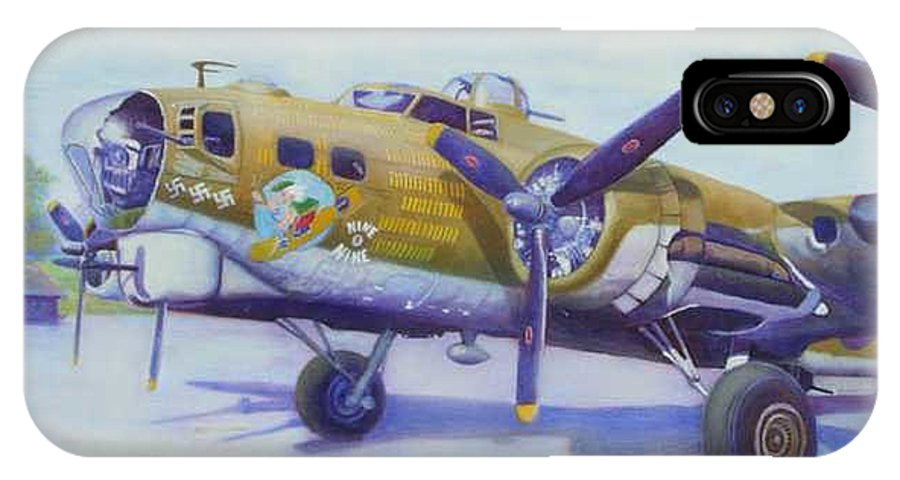 B-17 IPhone X Case featuring the painting The Nine O Nine by Scott Robertson