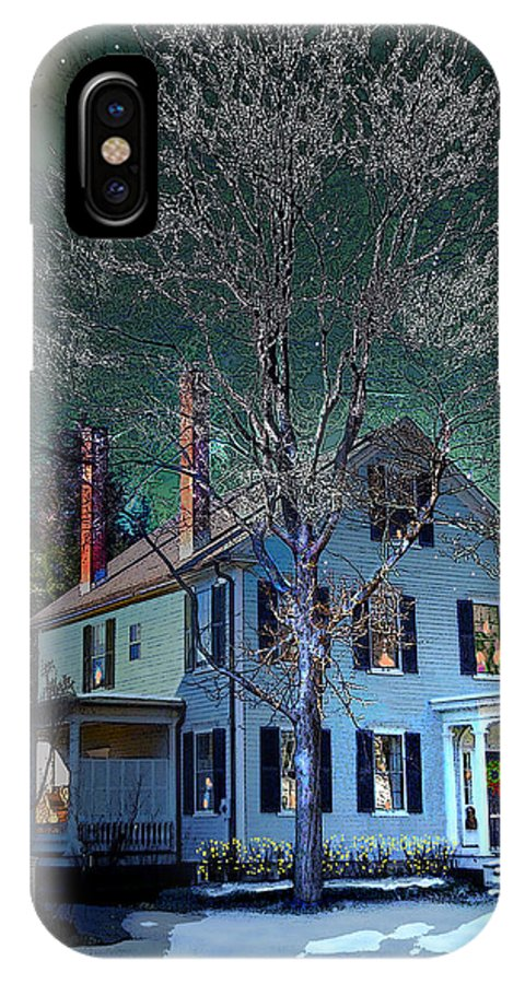 Vermont IPhone X Case featuring the digital art The Noble House by Nancy Griswold