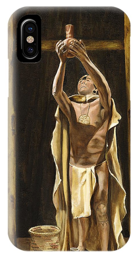 Sepia IPhone X Case featuring the painting The Offering by Mary Rogers