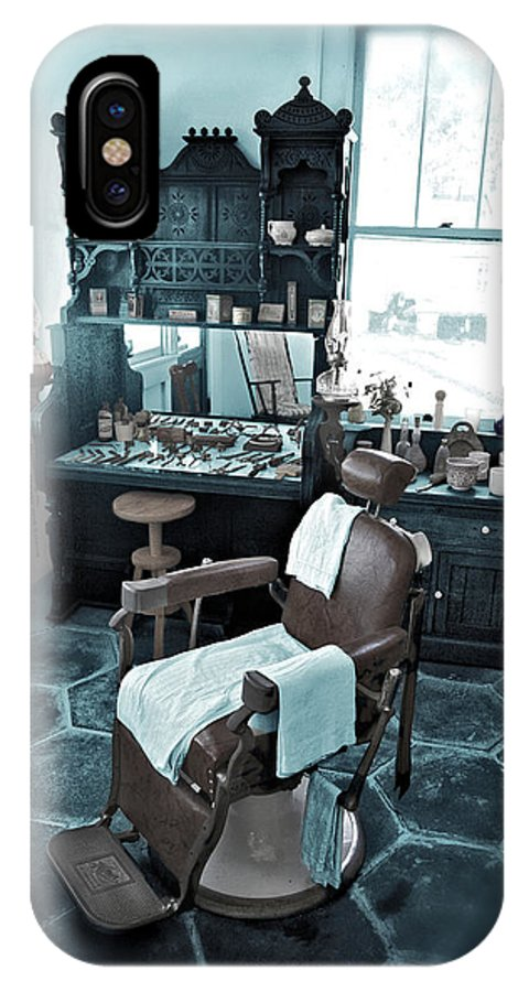Barber IPhone X Case featuring the photograph The Old American Barbershop by Mal Bray