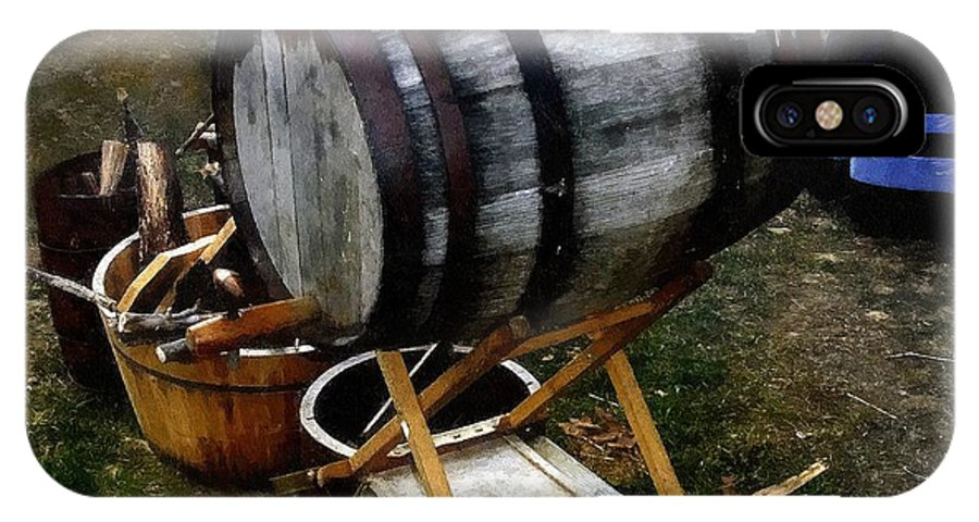 Antique IPhone X / XS Case featuring the painting The Old Beer Barrel by RC DeWinter