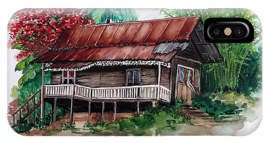 Tropical Painting Poincianna Painting Caribbean Painting Old House Painting Cocoa House Painting Trinidad And Tobago Painting  Tropical Painting Flamboyant Painting Poinciana Red Greeting Card Painting IPhone Case featuring the painting The Old Cocoa House by Karin Dawn Kelshall- Best