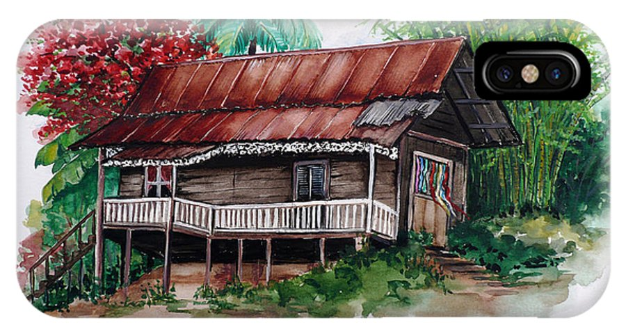 Tropical Painting Poincianna Painting Caribbean Painting Old House Painting Cocoa House Painting Trinidad And Tobago Painting  Tropical Painting Flamboyant Painting Poinciana Red Greeting Card Painting IPhone X Case featuring the painting The Old Cocoa House by Karin Dawn Kelshall- Best