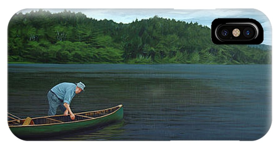 Landscape IPhone X Case featuring the painting The Old Green Canoe by Jan Lyons