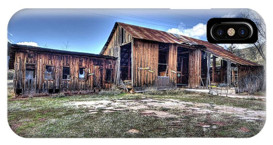 Abandoned Decayed Deteriorated Rotten Aged Old Structure Building Barn Wood Charming Character Landscape Beauty Color Red Green Blue Sky Clouds Hdr Pine Northern Arizona IPhone X Case featuring the photograph The Old Haunted Barn by Thomas Todd