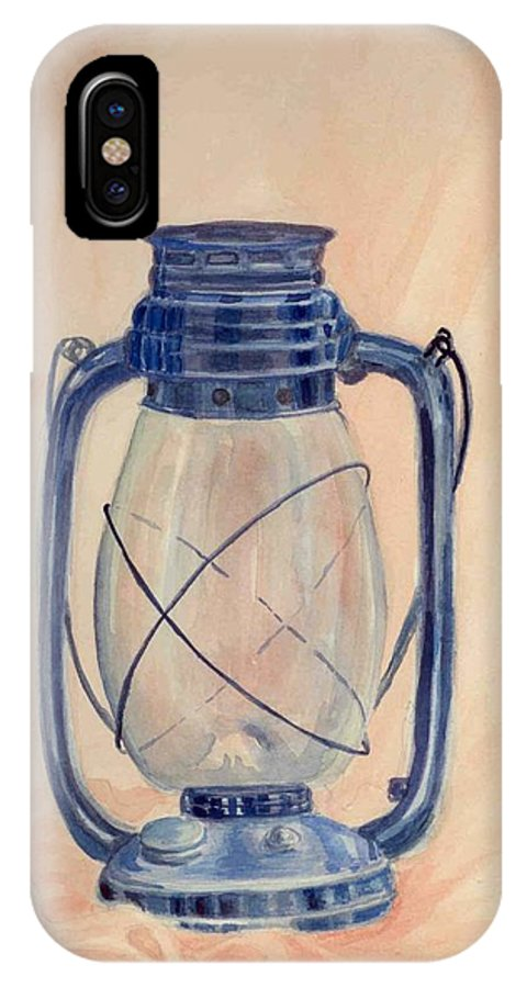 Lantern IPhone X Case featuring the painting The Old Lantern by Asha Sudhaker Shenoy