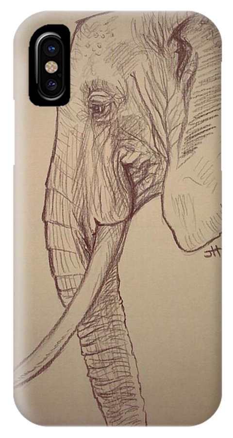 Elephant IPhone X Case featuring the drawing The Old Leader by Jennifer Hotai