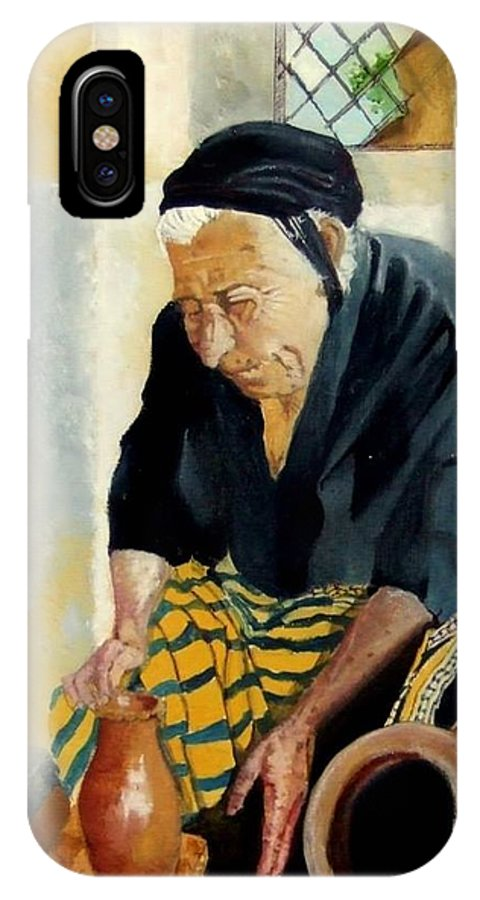 Old People IPhone X Case featuring the painting The Old Potter by Jane Simpson