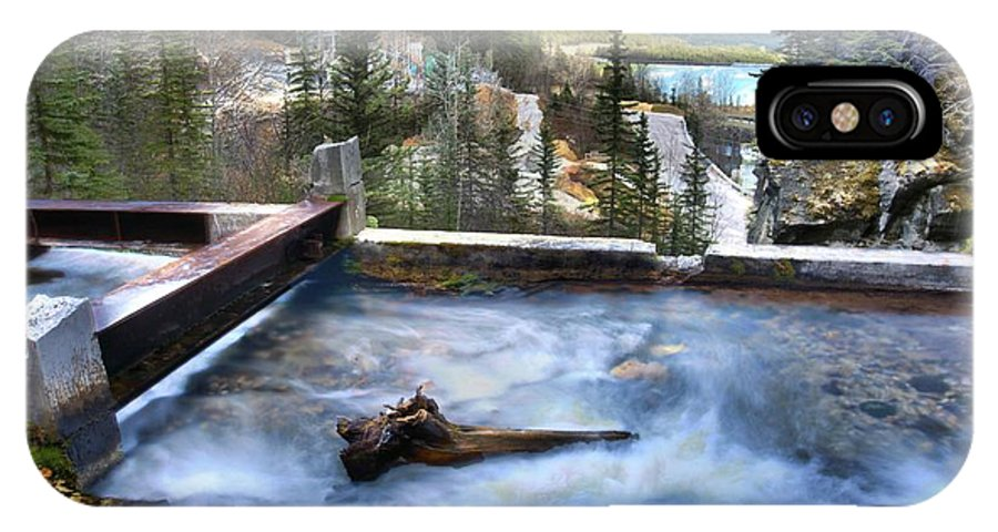 Spray Lake Falls IPhone X Case featuring the photograph The Old Penstock Platform? by Ken McMullen