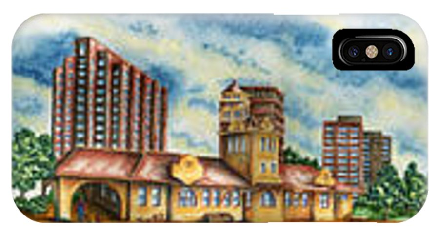 Cityscape IPhone Case featuring the painting The Old Train Station  by Ragon Steele